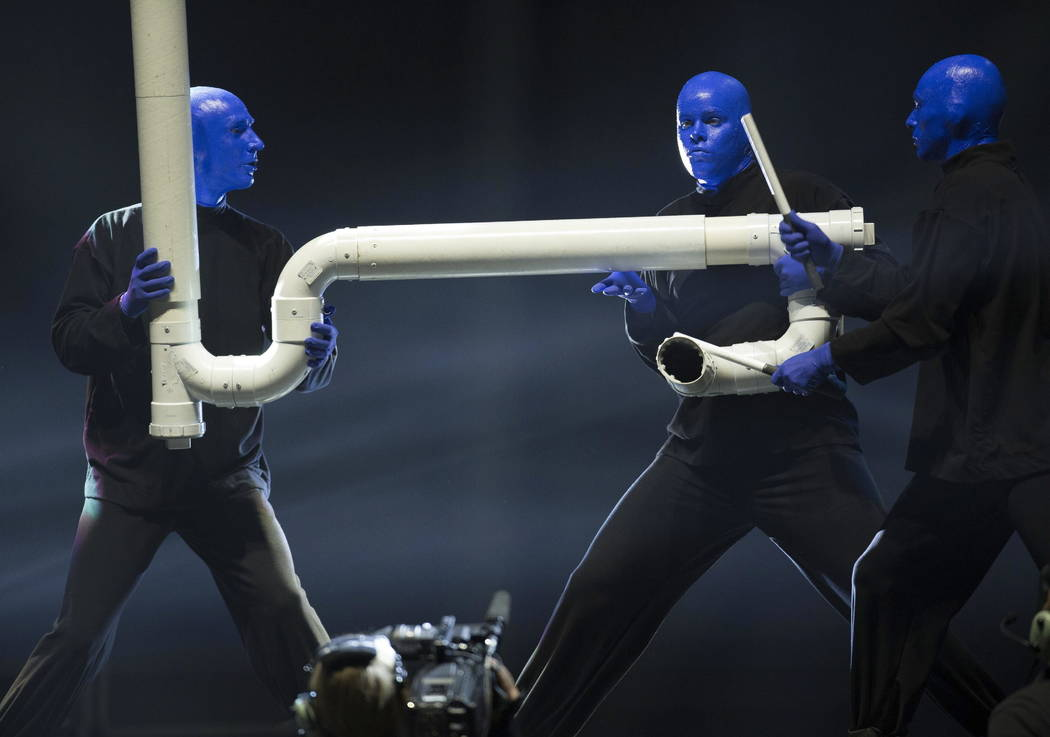 Blue Man Group performs during the Vegas Strong Benefit concert at T-Mobile Arena, Friday Dec 1, 2017 in Las Vegas. (Photo by Eric Jamison/Invision/AP)