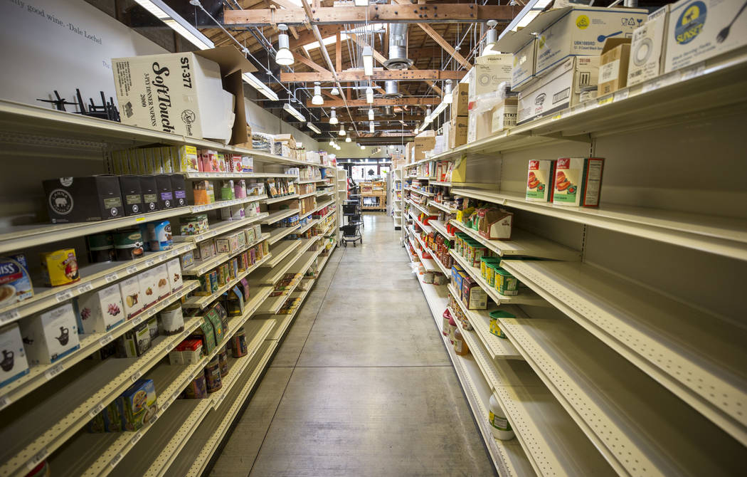 Sparsely stocked shelves line a food aisle at The Market Tuesday, Dec. 19, 2017, in downtown Las Vegas. Richard Brian Las Vegas Review-Journal @vegasphotograph
