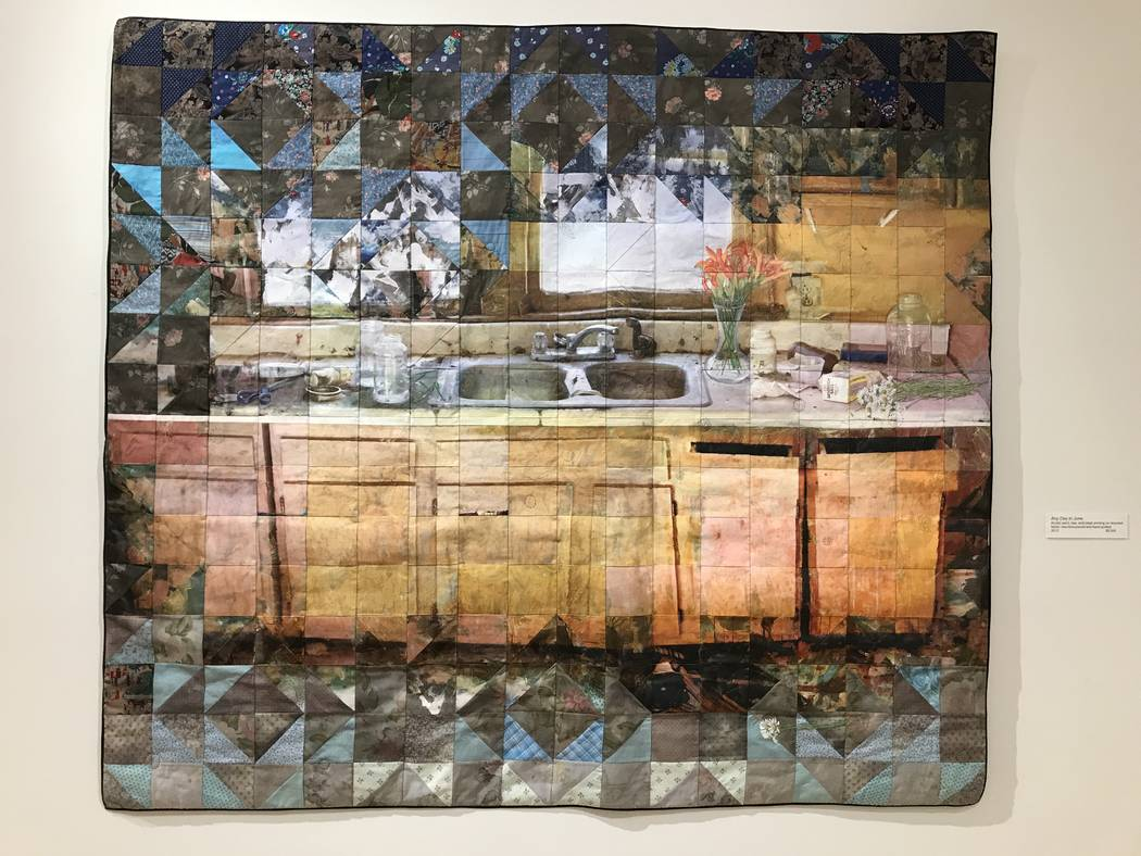 """Any Day in June,"" acrylic paint, dye and inkjet printing on recycled fabric; machine-pieced and hang-quilted by Jeana Eve Klein. The North Carolina-based artist has an exhibit called ""Past Perfec ..."