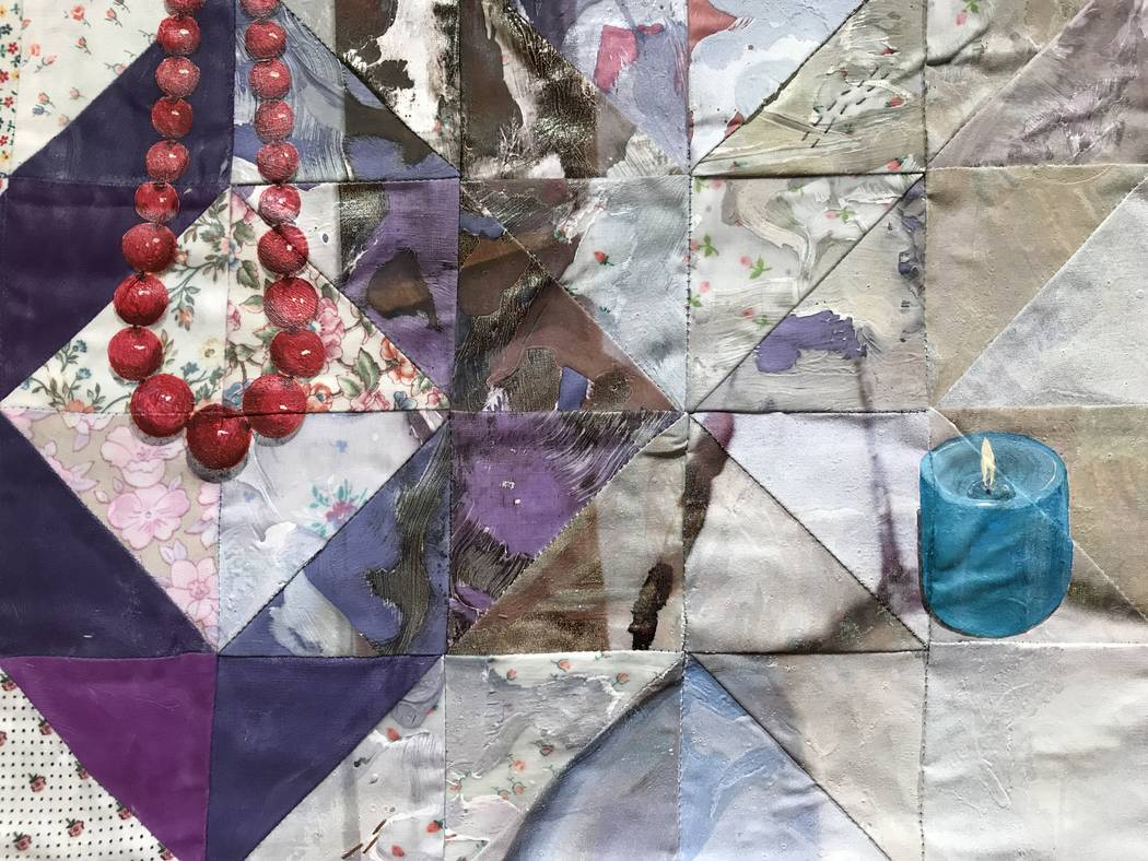 "Details in ""The End of Romance,"" 2014, 64"" x 52"", Acrylic paint and inkjet printing on recycled fabric; machine-pieced and hand-quilted by Jeana Eve Klein. The North Carolina-based artist has an e ..."