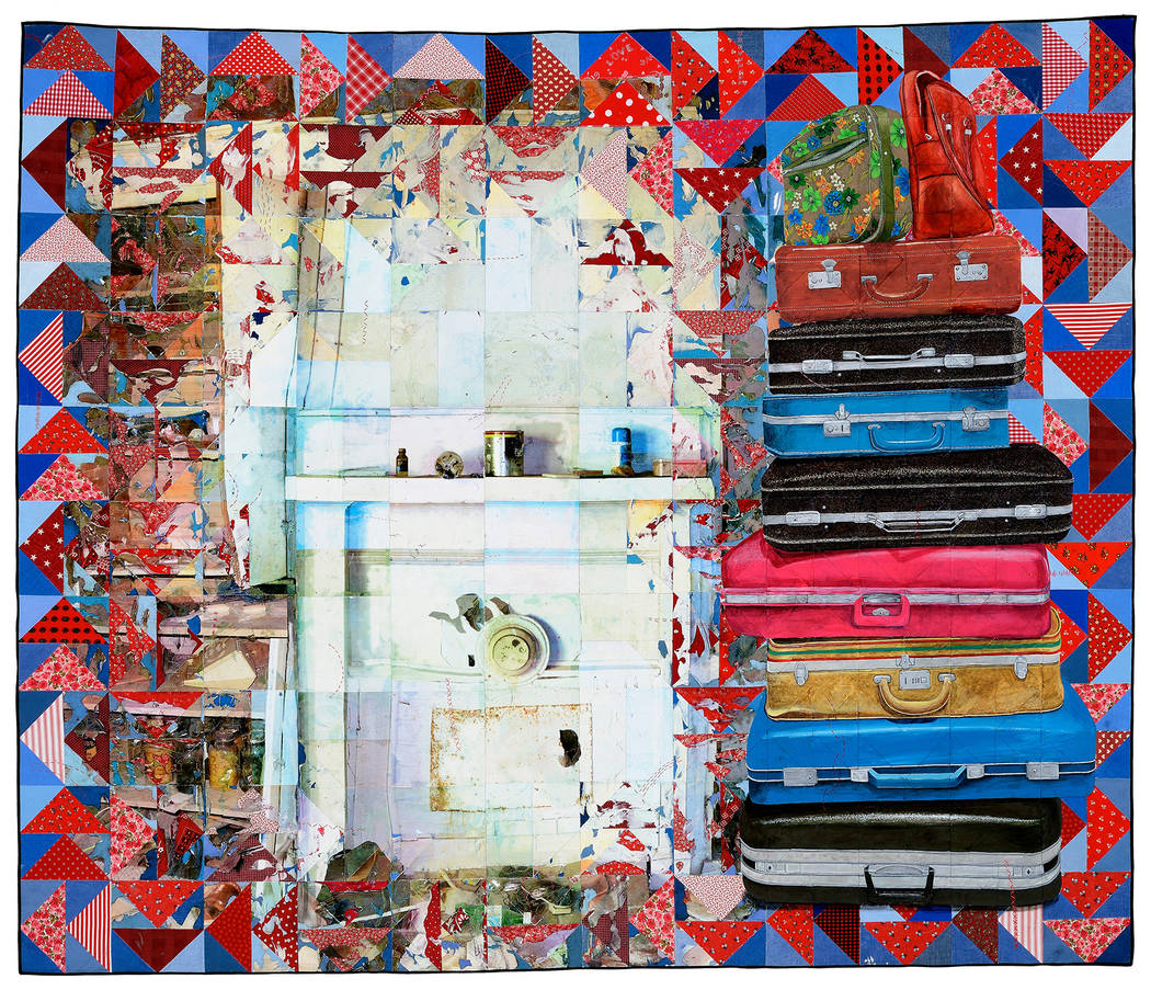 """Carry On,"" 2014, 59"" x 70"", acrylic paint and inkjet printing on recycled fabric; machine-pieced and hand-quilted by Jeana Eve Klein. The North Carolina-based artist has an exhibit called ""Pa ..."