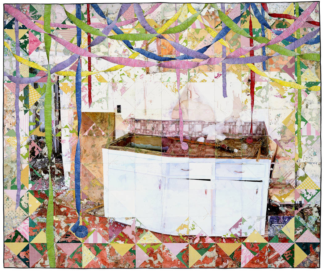 """Set Up,"" 2016, 59"" x 71"", acrylic paint and inkjet printing on recycled fabric; machine-pieced and hand-quilted by Jeana Eve Klein. The North Carolina-based artist has an exhibit called ""Past ..."