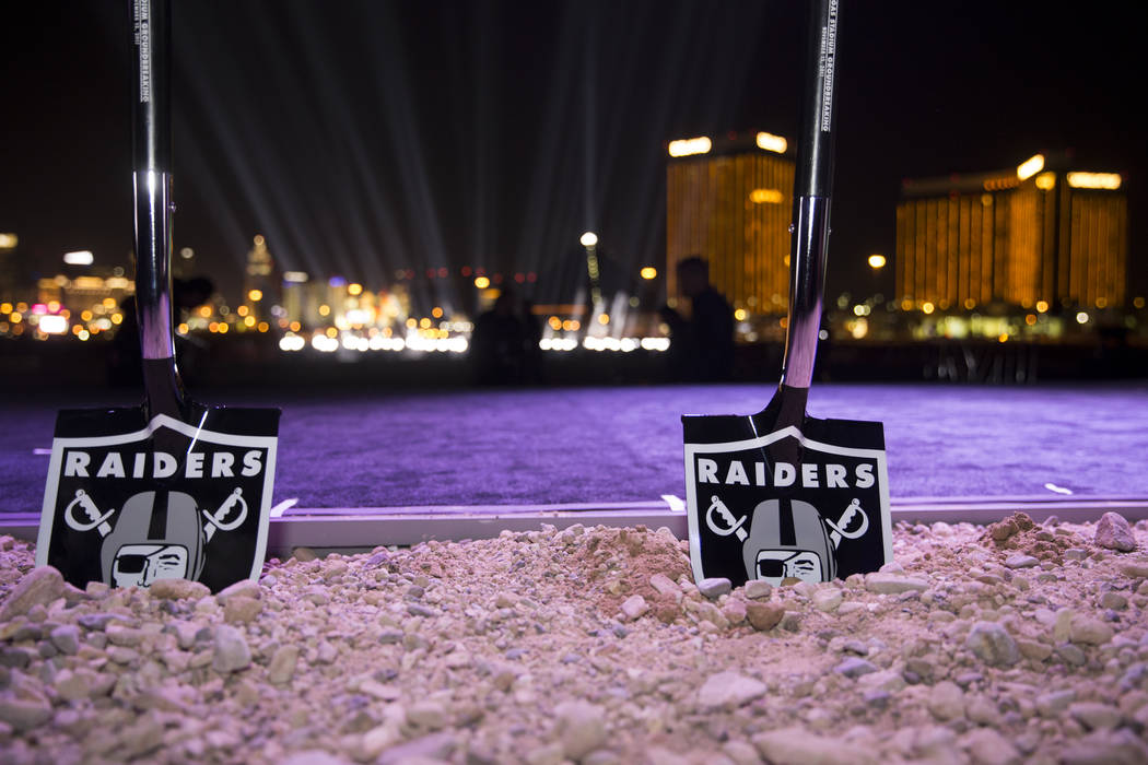 Ceremonial shovels at the site of the future Raiders stadium during the groundbreaking ceremony in Las Vegas, Monday, Nov. 13, 2017. (Erik Verduzco/Las Vegas Review-Journal @Erik_Verduzco)
