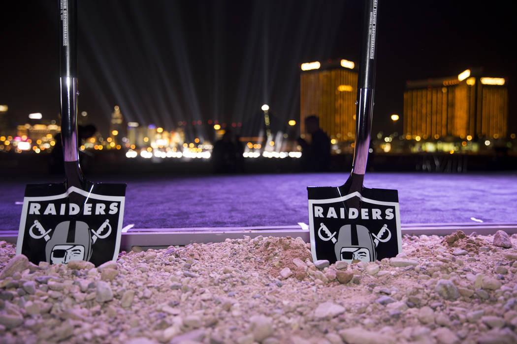 Ceremonial shovels at the site of the future Raiders stadium during the groundbreaking ceremony in Las Vegas, Monday, Nov. 13, 2017. (Erik Verduzco/Las Vegas Review-Journal @Erik_Verduzco)