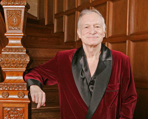 FILE - In this April 7, 2006 file photo, Playboy founder Hugh Hefner poses at the Playboy Mansion in the Holmby Hills area of Los Angeles.  Hefner was among the notable figures who died in 2017.   ...