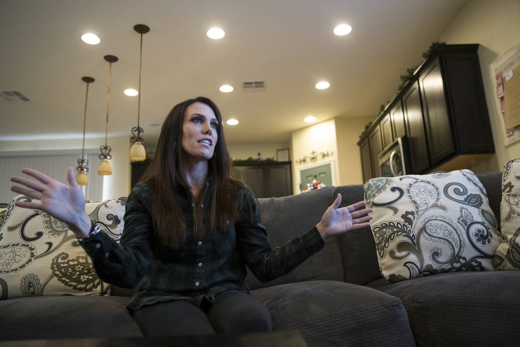 J'Anna Hendricks, who attended the Route 91 Harvest Festival, shares her story about attending the event from her Las Vegas home, Tuesday, Dec. 19, 2017. Erik Verduzco/Las Vegas Review-Journal