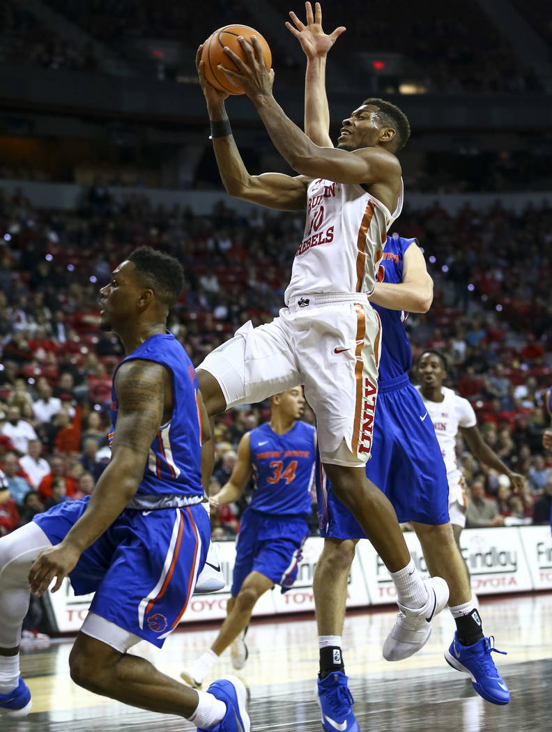 UNLV Rebels forward Shakur Juiston (10) goes up for a shot against Boise State Broncos during the first period of an NCAA college basketball game at the Thomas & Mack Center Saturday, Dec. 30, ...