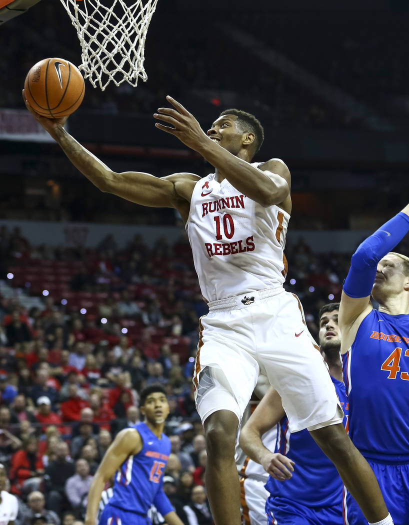 UNLV Rebels forward Shakur Juiston (10) goes up for a shot against the Boise State Broncos during the first period of  an NCAA college basketball game at the Thomas & Mack Center Saturday, Dec ...