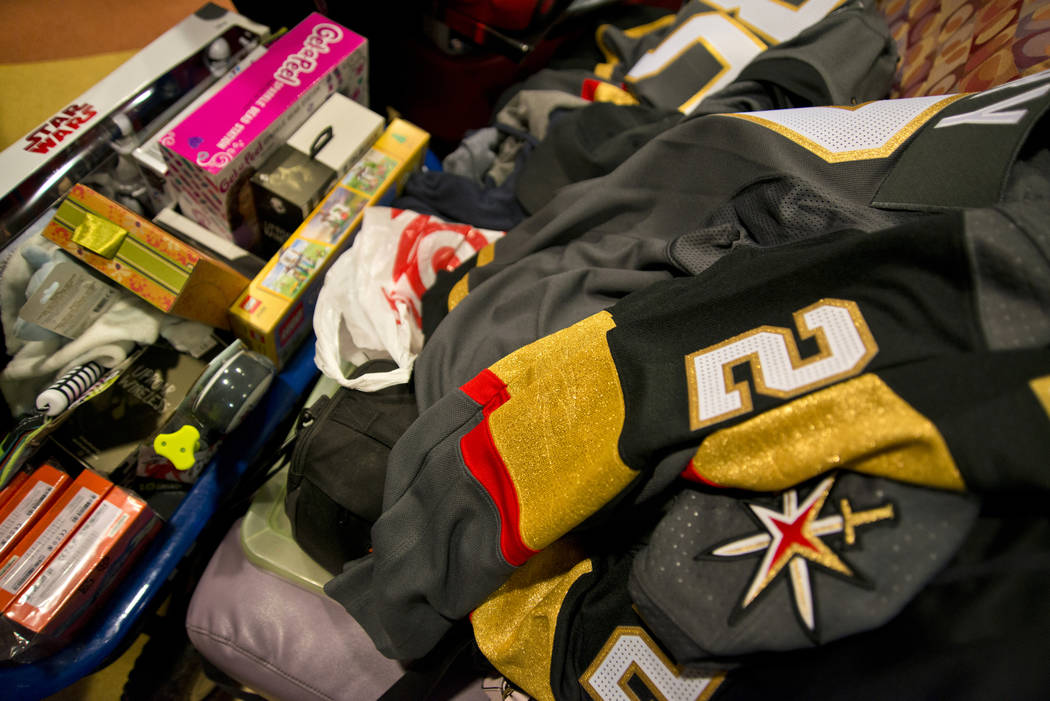Presents for children are stacked during an event at the Children's Hospital of Nevada at University Medical Center in Las Vegas on Thursday, Dec. 21, 2017. Daniel Clark/Las Vegas Review-Journal