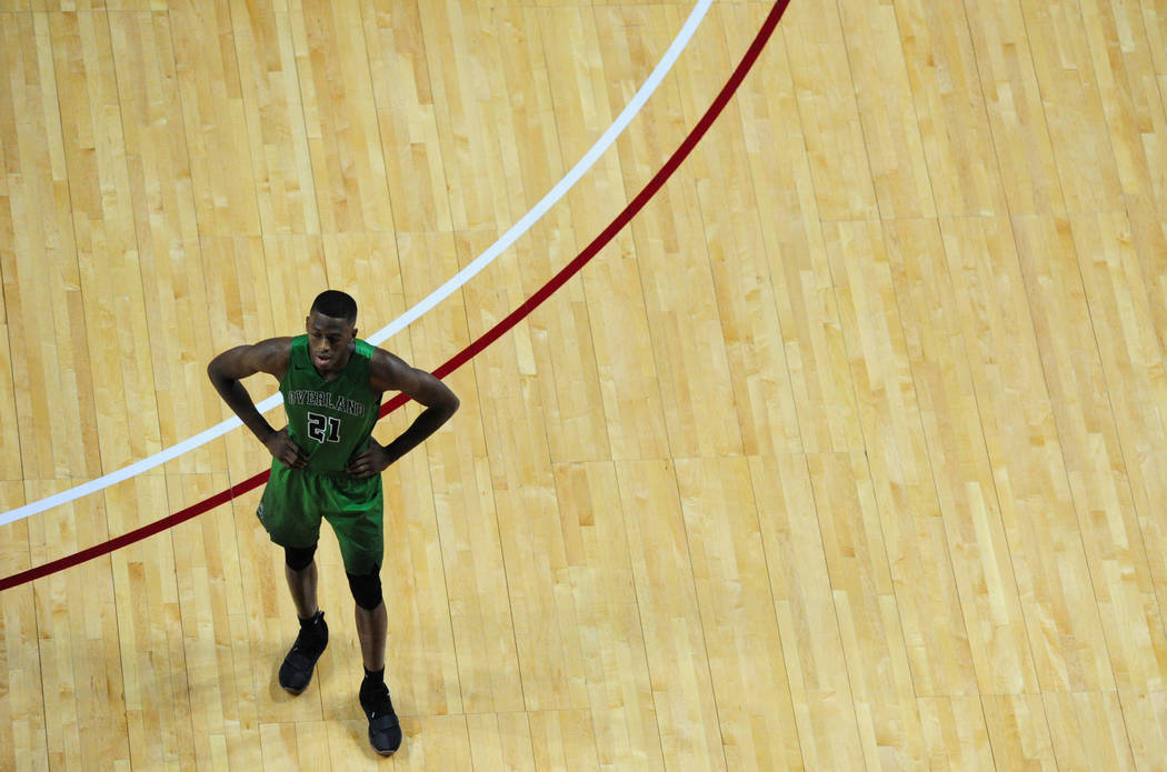 Overland (Colo.) forward Laolu Oke watches a free throw during their prep basketball game against Bishop Gorman at Orleans Arena in Las Vegas Wednesday, Dec. 20, 2017. Josh Holmberg/Las Vegas Revi ...