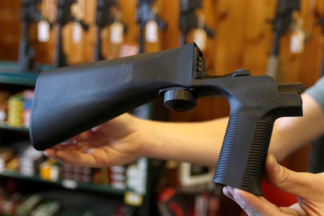 An example of a bump stock that attaches to a semi-automatic rifle to increase the firing rate is seen at Good Guys Gun Shop in Orem, Utah, on Oct. 4, 2017. (George Frey/Reuters)