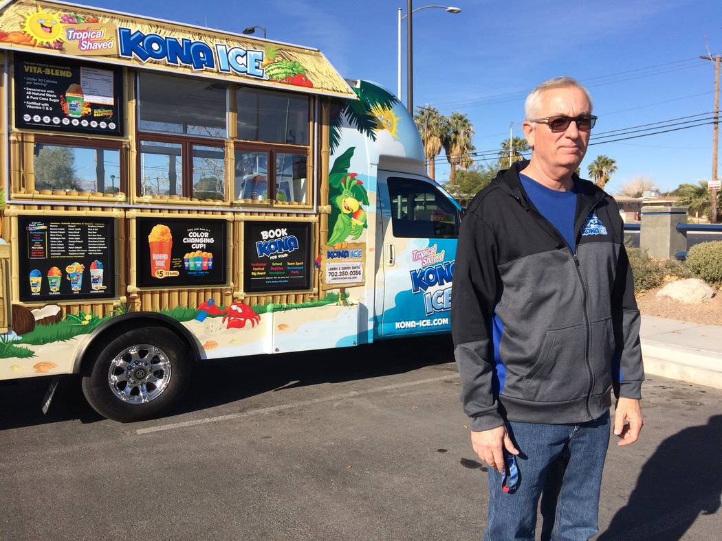 Larry Smith pauses Dec. 11, 2017, as he talks about is new business, a Kona Ice truck. The former Metro detective noted that his franchise area is where he used to patrol. (Jan Hogan/View)