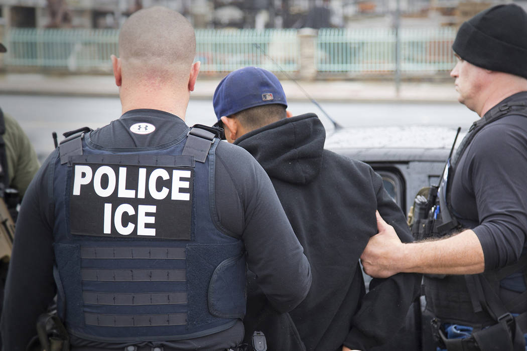 Foreign nationals being arrested during a targeted enforcement operation conducted by U.S. Immigration and Customs Enforcement (ICE) in Los Angeles on Feb. 7, 2017. (Charles Reed/U.S. Immigration  ...