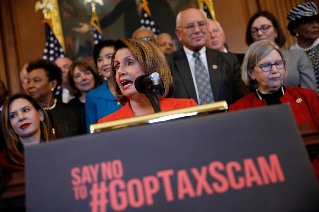 House Minority Leader Nancy Pelosi speaks at a news conference about the Republican led tax reform bill at the U.S. Capitol in Washington, Dec. 19, 2017. (Aaron P. Bernstein/Reuters)