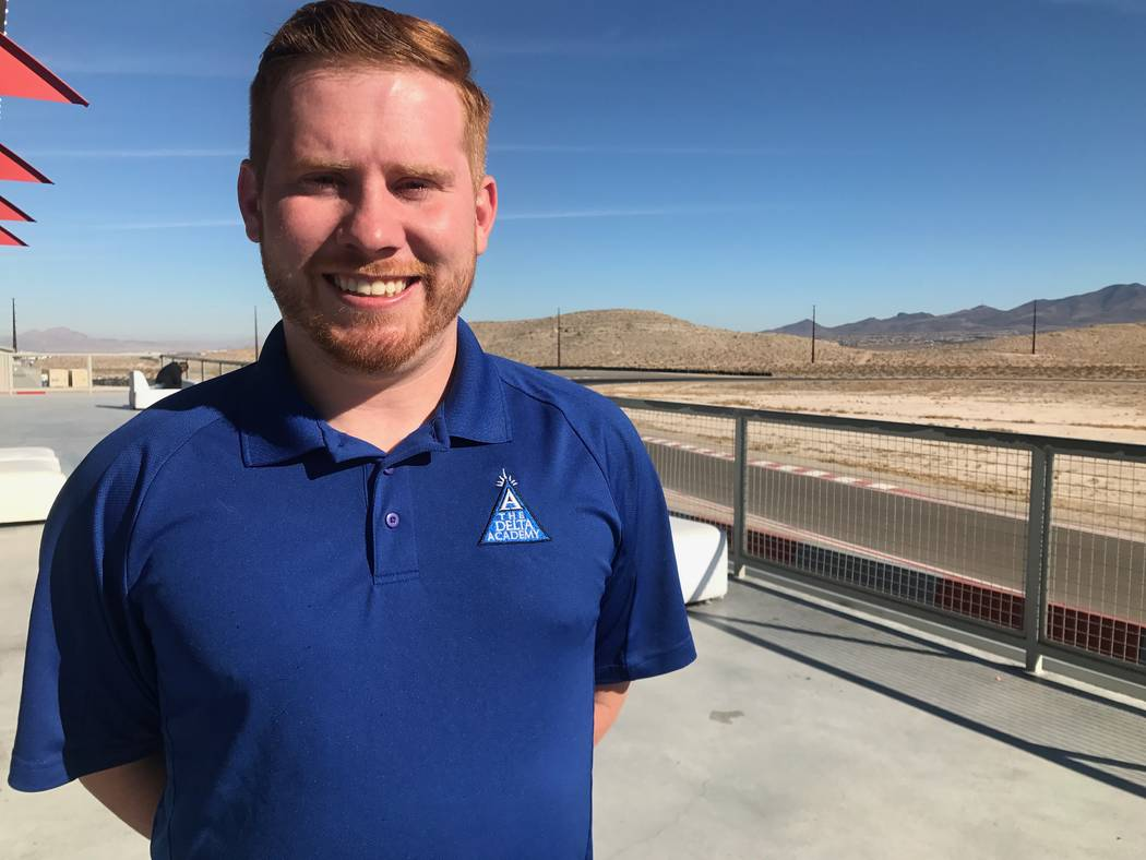 Austin Congleton, who is a science teacher at The Delta Academy, poses for portrait on Dec. 15, 2017 at SpeedVegas, 14200 S. Las Vegas Blvd. (Kailyn Brown/View) @KailynHype