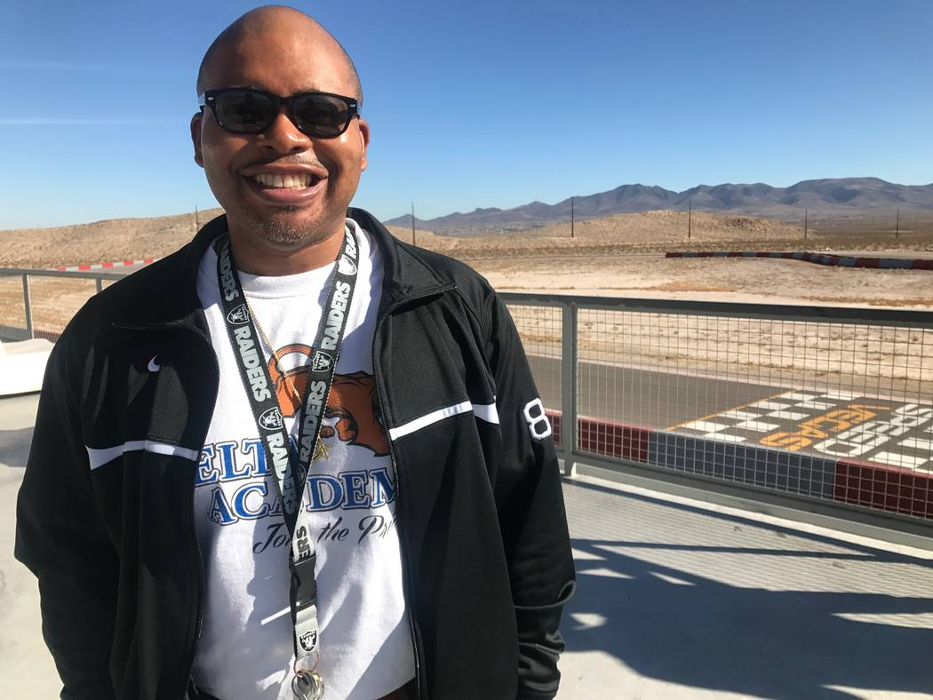 Lance Patterson, who is an English teacher at The Delta Academy, poses for portrait on Dec. 15, 2017 at SpeedVegas, 14200 S. Las Vegas Blvd. (Kailyn Brown/View) @KailynHype