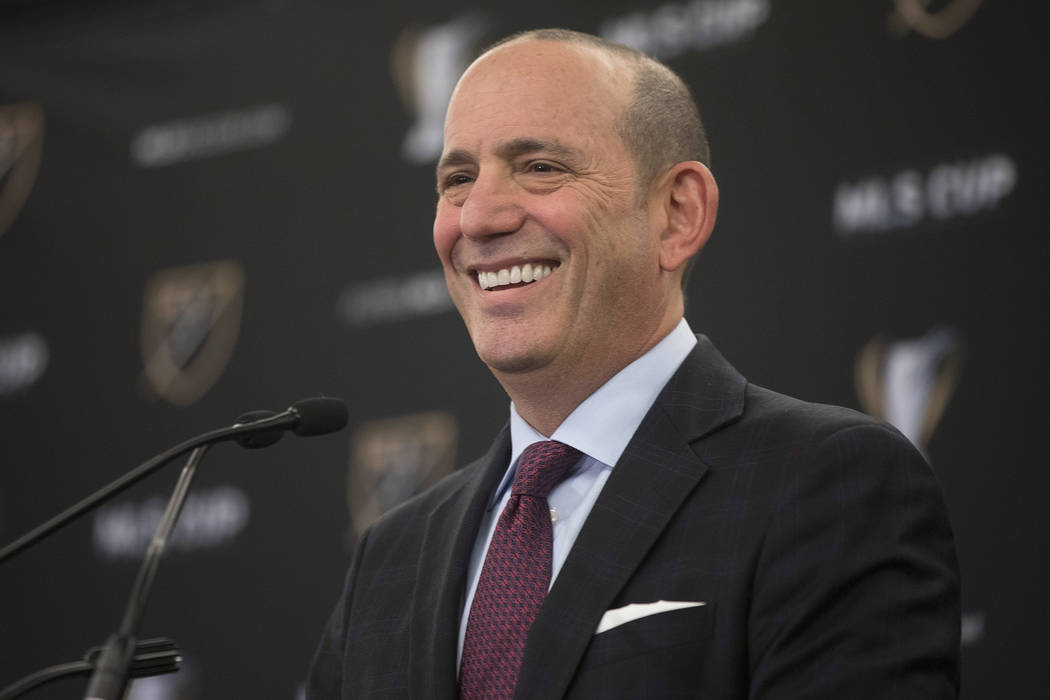 In this Dec. 9, 2016, file photo, MLS Commissioner Don Garber holds a state of the league news conference in Toronto. (Chris Young/The Canadian Press via AP, File)