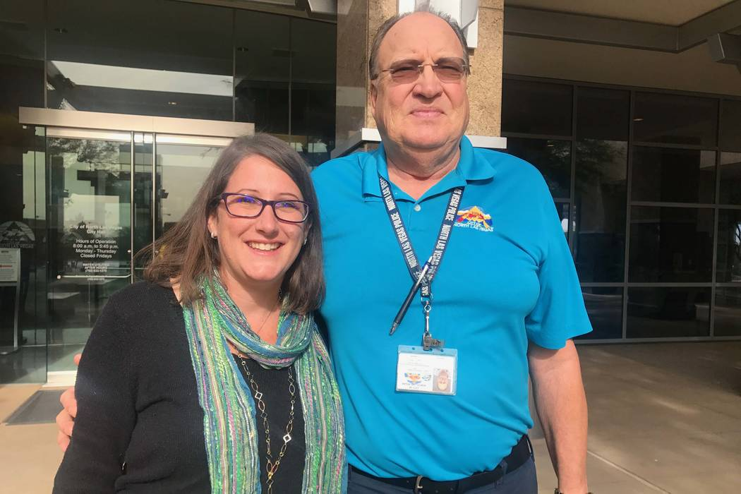 City of North Las Vegas public information officer Delen Goldberg and manager in the parks maintenance department John Runiks. (Kailyn Brown/View) @KailynHype