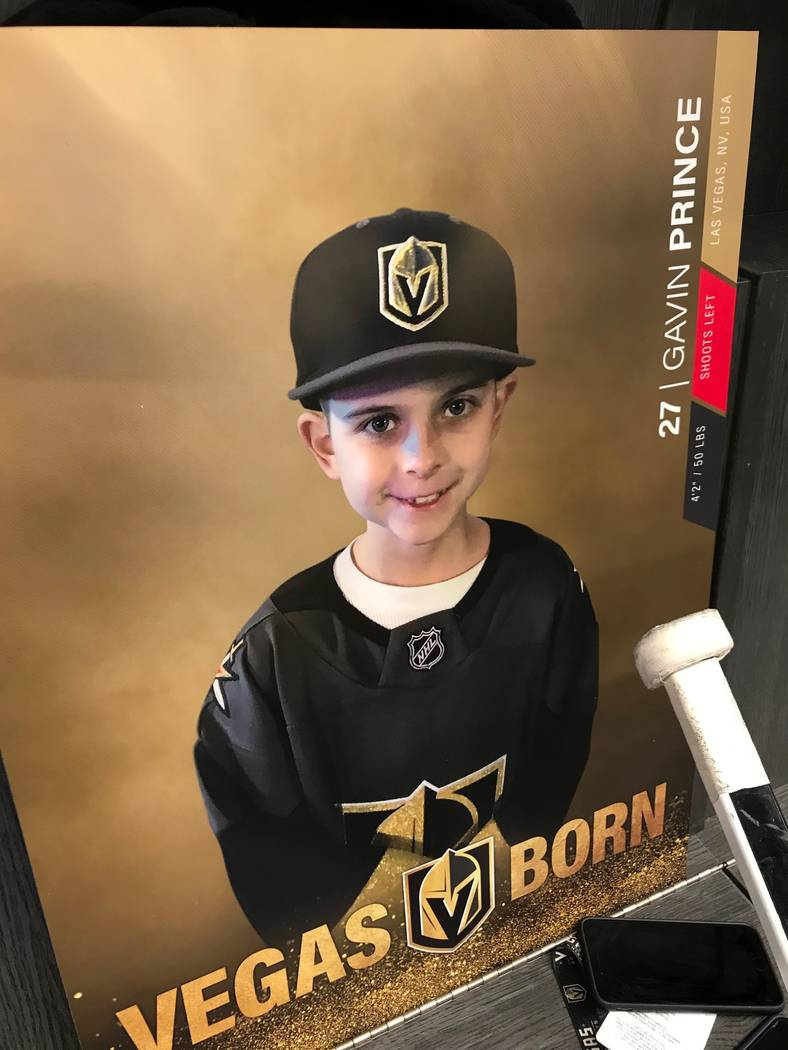 Make-A-Wish of Southern Nevada helped Gavin Prince, 8, spend the day with the Vegas Golden Knights, Tuesday, Dec. 19, 2017. (Elaine Wilson/Las Vegas Review-Journal)