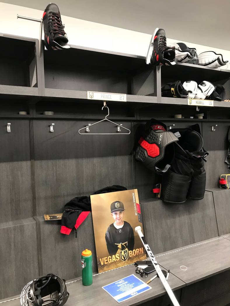 Make-A-Wish of Southern Nevada helped Gavin Prince, 8, spend the day with the Vegas Golden Knights, Tuesday, Dec. 19, 2017. He was given a personalized locker at City National Arena. (Elaine Wilso ...