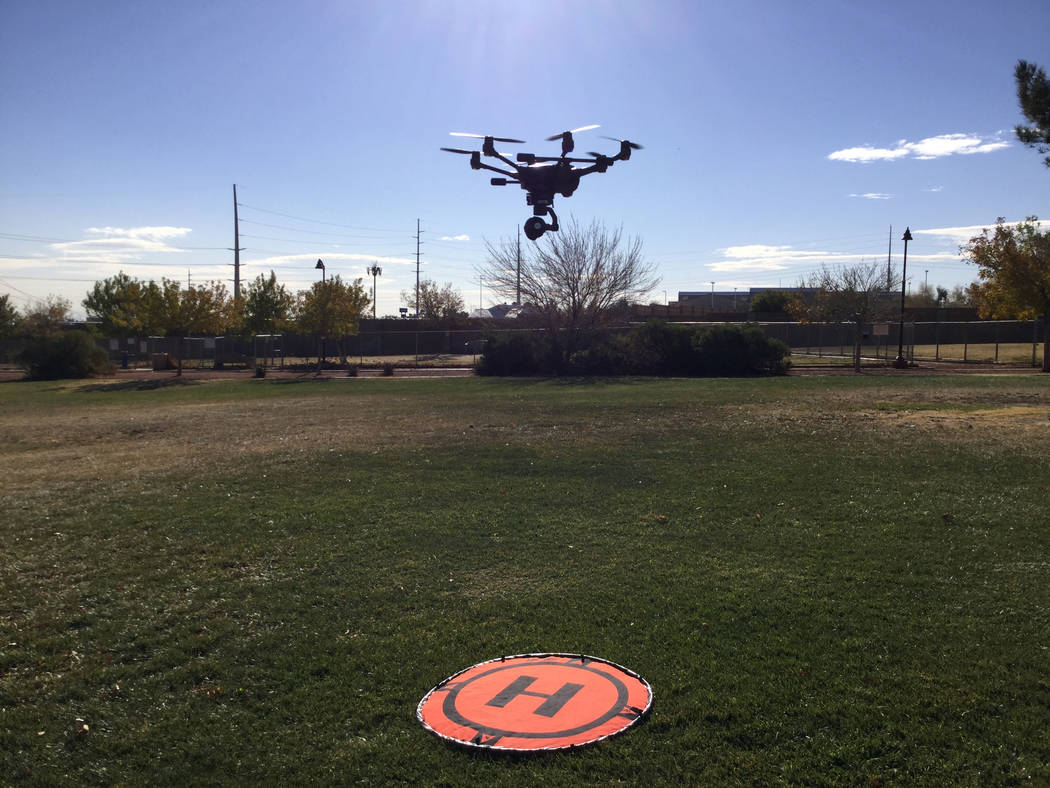 The Metropolitan Police Department purchased five drones from Yuneec. A Metro officer pilots the Yuneec drone used for training purposes in Las Vegas, Wednesday, Dec. 20, 2017. Nicole Raz/Las Vega ...
