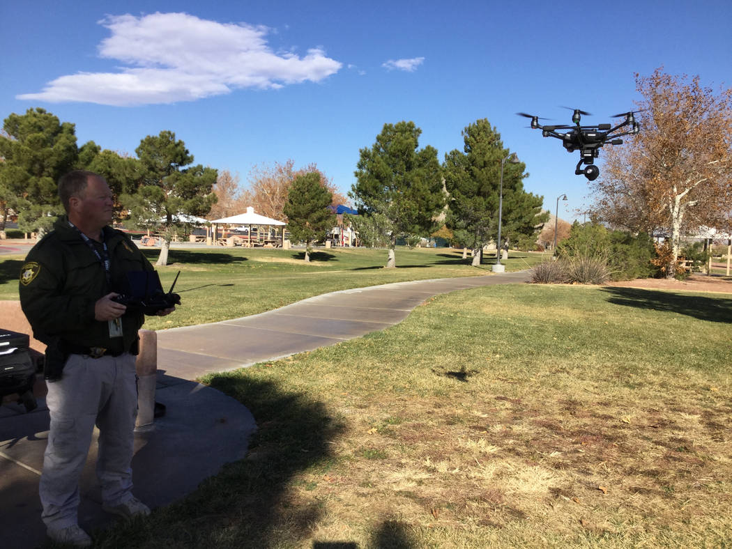Metropolitan Police Department officer David Martel pilots a a drone in Las Vegas, Wednesday, Dec. 20, 2017. Metro purchased five drones from drone manufacturer Yuneec that arrived in late Septemb ...
