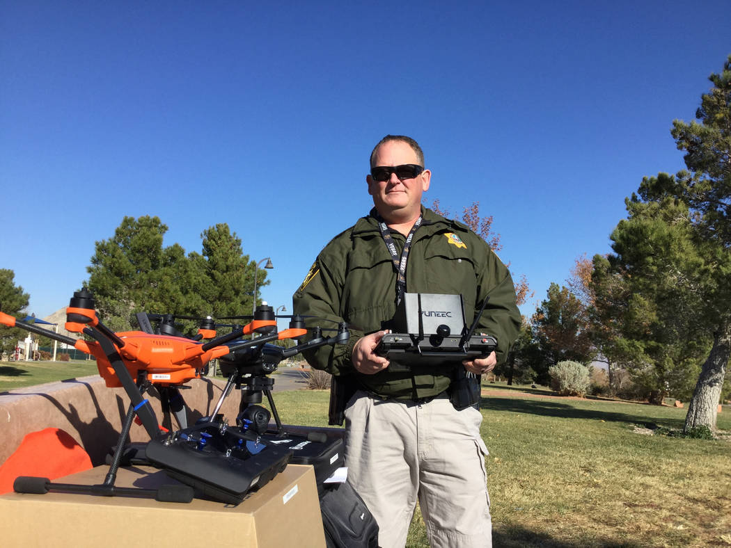 Metropolitan Police Department officer David Martel is the department's small unmanned aerial system program manager. Martel used the orange drone, the Yuneec H520 to map the scene of the Oct. 1 s ...
