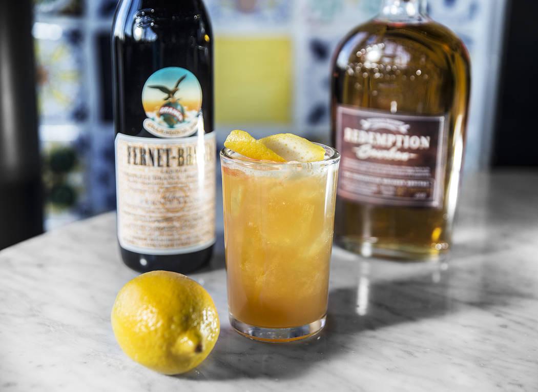 Amaro D'amici with Redemption bourbon, Fernet Branca, clover honey and bitter trio at North Italia on Wednesday, Dec. 20, 2017, in Las Vegas. Benjamin Hager Las Vegas Review-Journal @benjaminhphoto