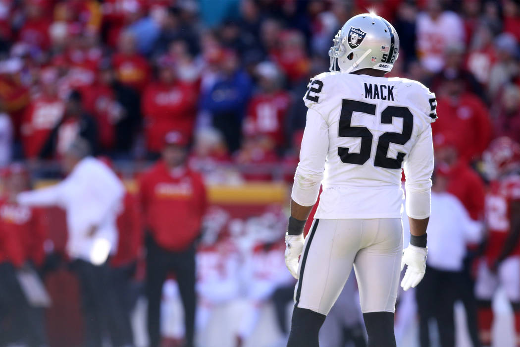 Oakland Raiders defensive end Khalil Mack (52) on the field during the first half of a NFL game against the Kansas City Chiefs in Kansas City, Mo., Sunday, Dec. 10, 2017. Heidi Fang Las Vegas Revi ...