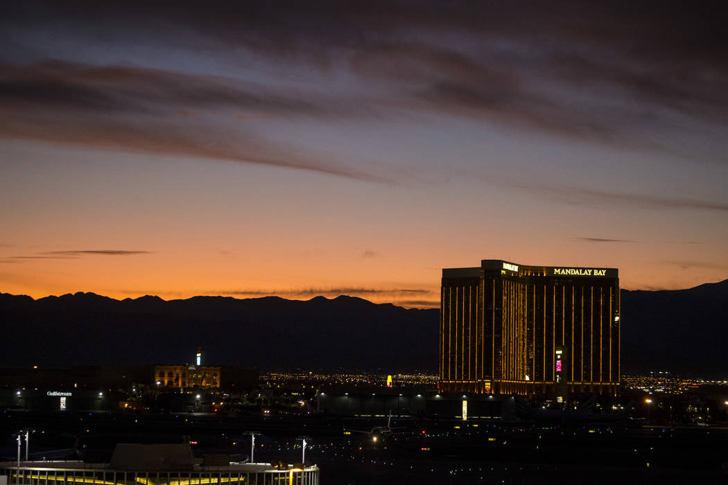 Mandalay Bay on the south Strip at dusk in Las Vegas on Monday, Sept. 25, 2017. Richard Brian Las Vegas Review-Journal @vegasphotograph