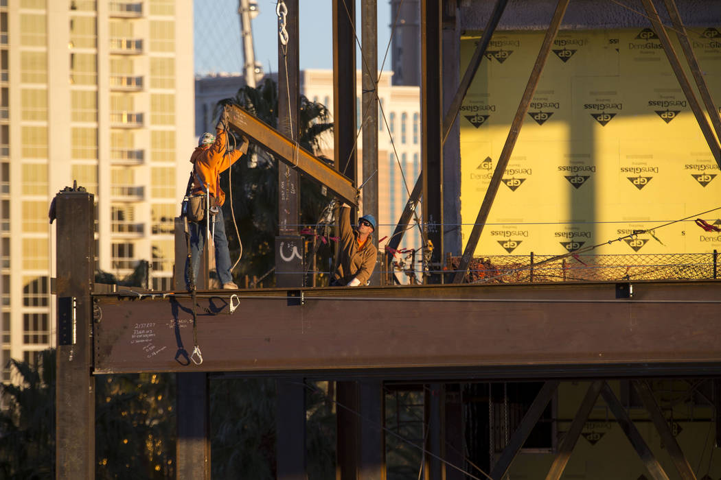 Construction continues at MGM Grand's conference center expansion on Thursday, Dec. 21, 2017. Richard Brian Las Vegas Review-Journal @vegasphotograph