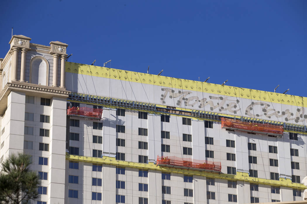 Construction continues at the Monte Carlo on the Strip in Las Vegas on Thursday, Dec. 21, 2017. Richard Brian Las Vegas Review-Journal @vegasphotograph