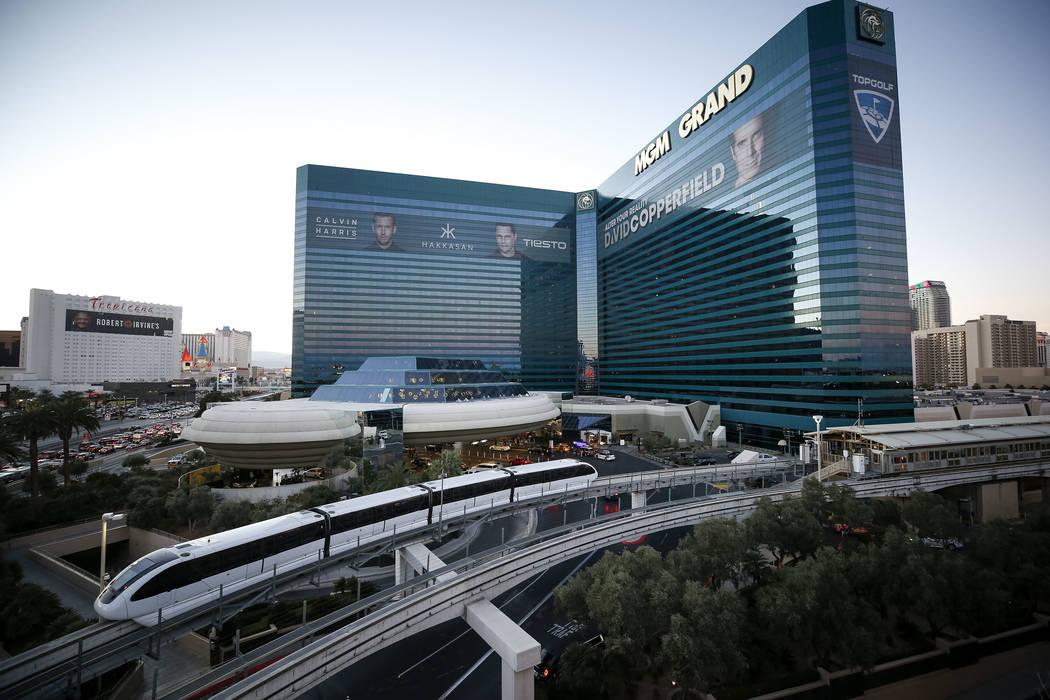 The Las Vegas Monorail moves near MGM Grand on Thursday, Dec. 14, 2017. Richard Brian Las Vegas Review-Journal @vegasphotograph