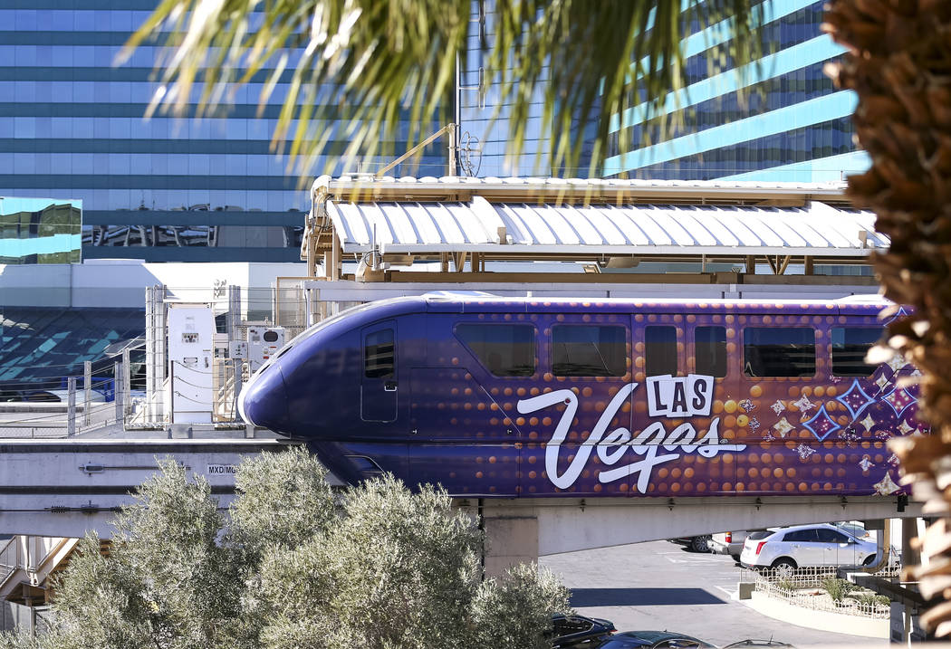 The Las Vegas Monorail stops at the MGM Grand stop on Friday, Dec. 15, 2017. Richard Brian Las Vegas Review-Journal @vegasphotograph
