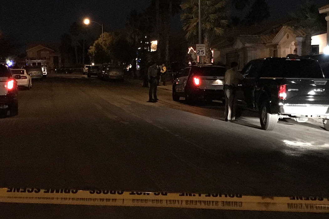 Las Vegas police investigate a shooting on the 3600 block of Starbright Lane, near El Capitan Way and Spring Mountain Road on Tuesday, Dec. 19, 2017. (Blake Apgar/Las Vegas Review-Journal)