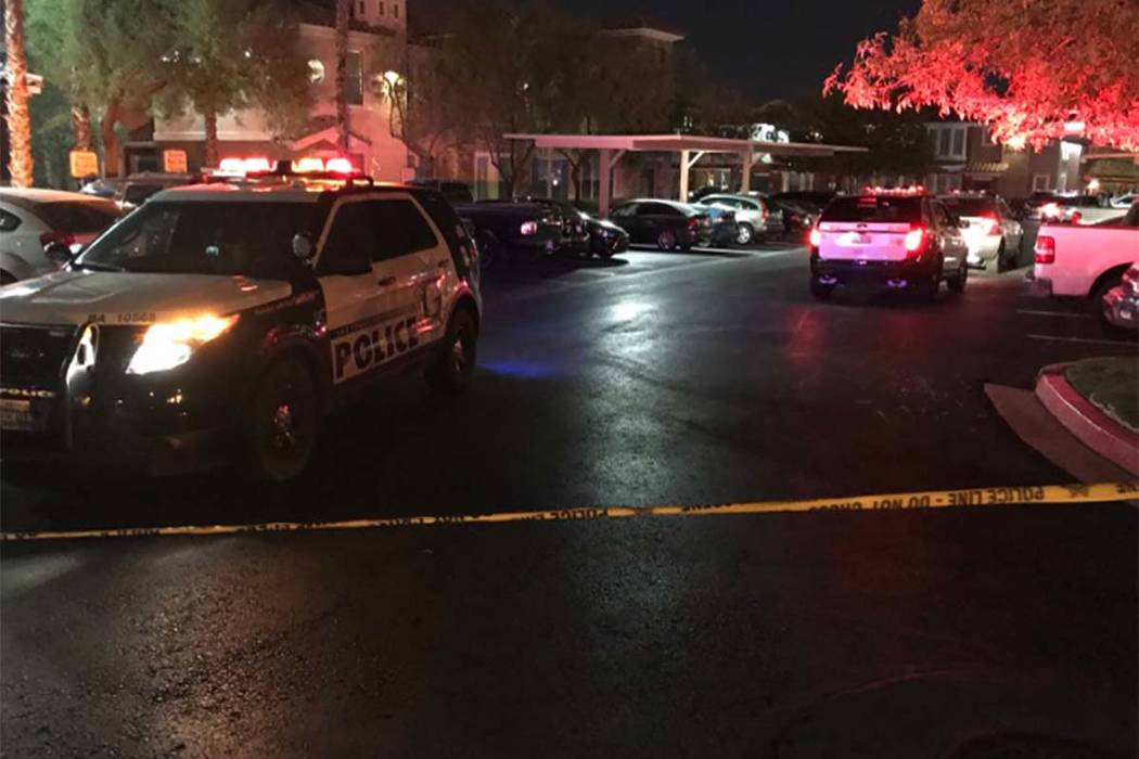Las Vegas police on Tuesday investigate a deadly shooting at 3644 South Fort Apache Road. (Blake Apgar/Las Vegas Review-Journal)
