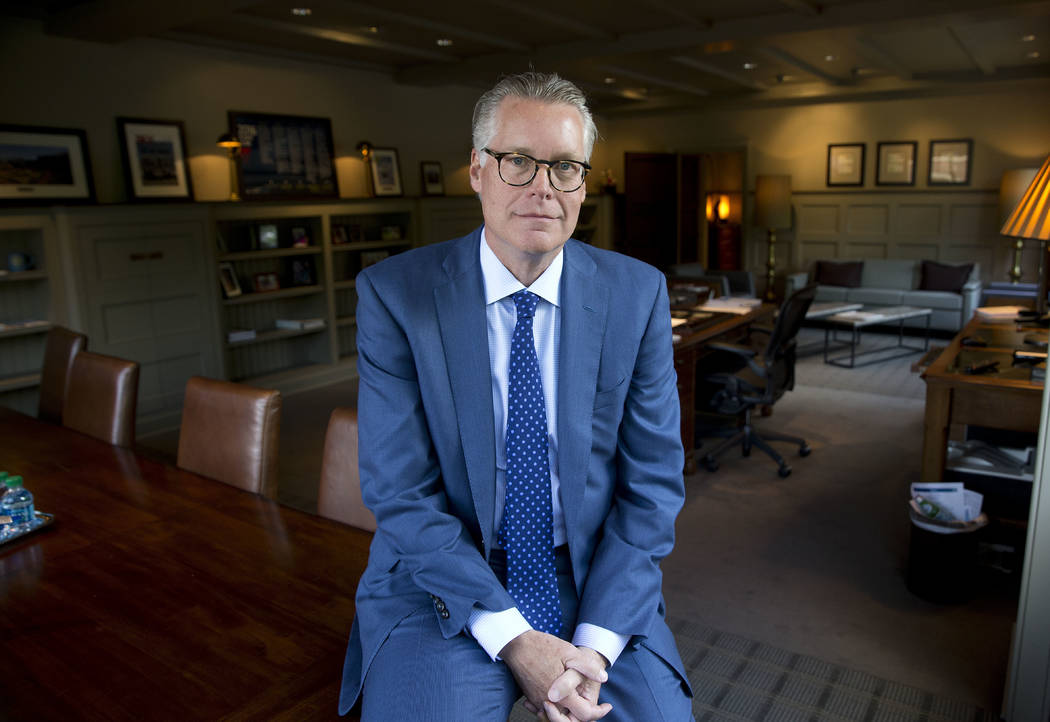 In this May 12, 2016 file photo, Delta Air Lines CEO Ed Bastian poses for a portrait in his office at the company's headquarters in Atlanta.  Bastian says the company will seek compensation for it ...