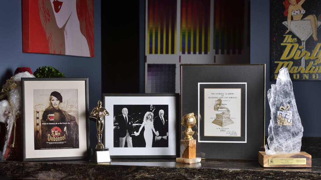 Memorabilia includes a framed photo of one of Pia Zadora's first modeling jobs, an ad for Dubonnet wine, her 1985 Grammy nomination for Best Female Rock Performance and the 1982 Golden Globe Award ...