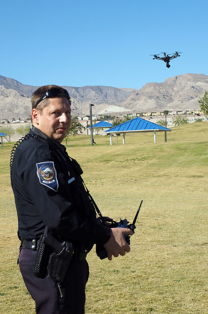Nevada Highway Patrol Trooper Daniel Marek controls a Yuneec Typhoon H unmanned aerial vehicle during a news conference at Lone Mountain Regional Park in Las Vegas, Friday, Oct. 21, 2016. Jerry He ...