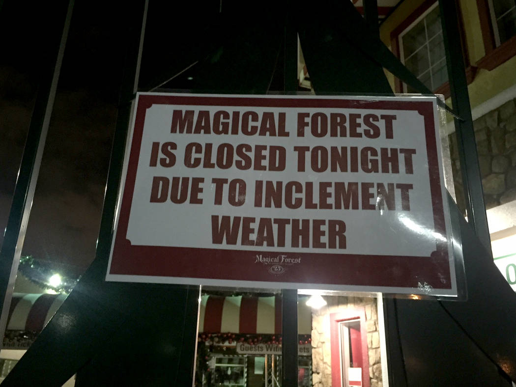 High winds in Las Vegas led to the closure of the Magical Forest at Opportunity Village on Wednesday, Dec. 20, 2017. (Marian Green/Las Vegas Review-Journal)
