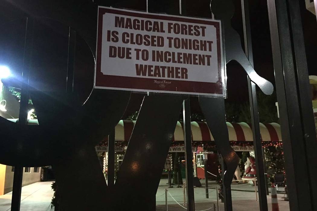 A sign at the entrance to the Magical Forest at Opportunity Village on Wednesday, Dec. 20, 2017, tells visitors the attraction is closed as winds whipped through the valley. Marian Green/Las Vegas ...