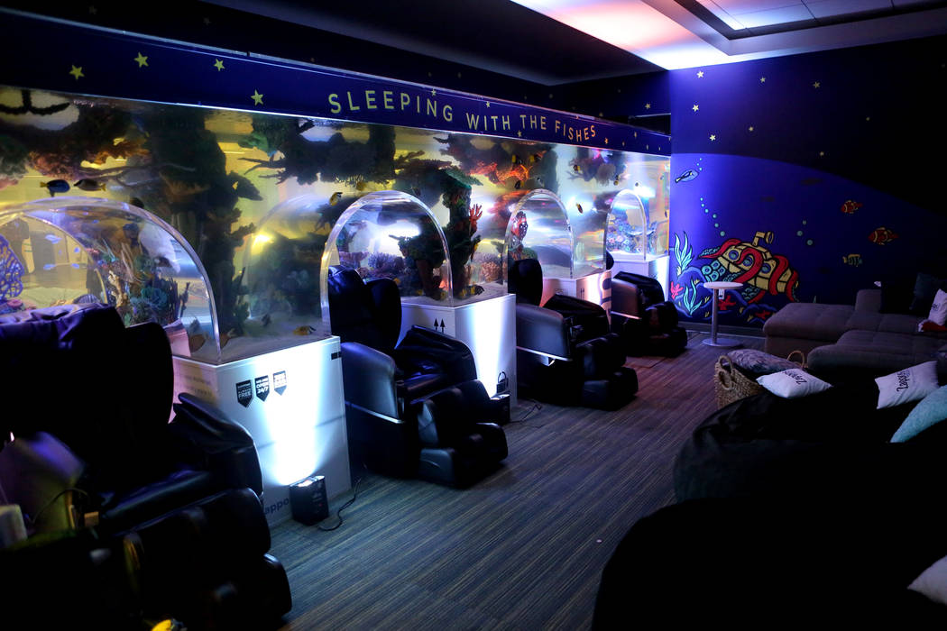 The new Zappos nap room at the Las Vegas campus features couches, pillow chairs and massage recliners that are recessed into a wall sized aquarium on Thursday, Dec. 21, 2017. Michael Quine/Las Veg ...