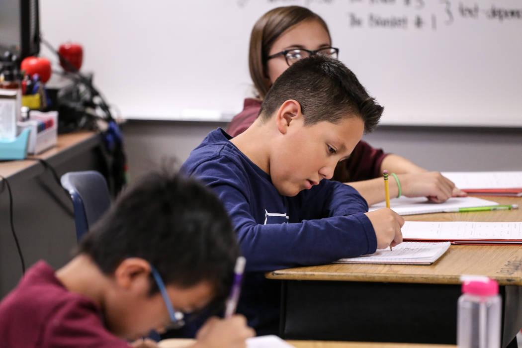 Fifth grader Carter Bulloch works on an assignment at Sandra Lee Thompson Elementary in Las Vegas, Thursday, Oct. 5, 2017. Joel Angel Juarez Las Vegas Review-Journal @jajuarezphoto