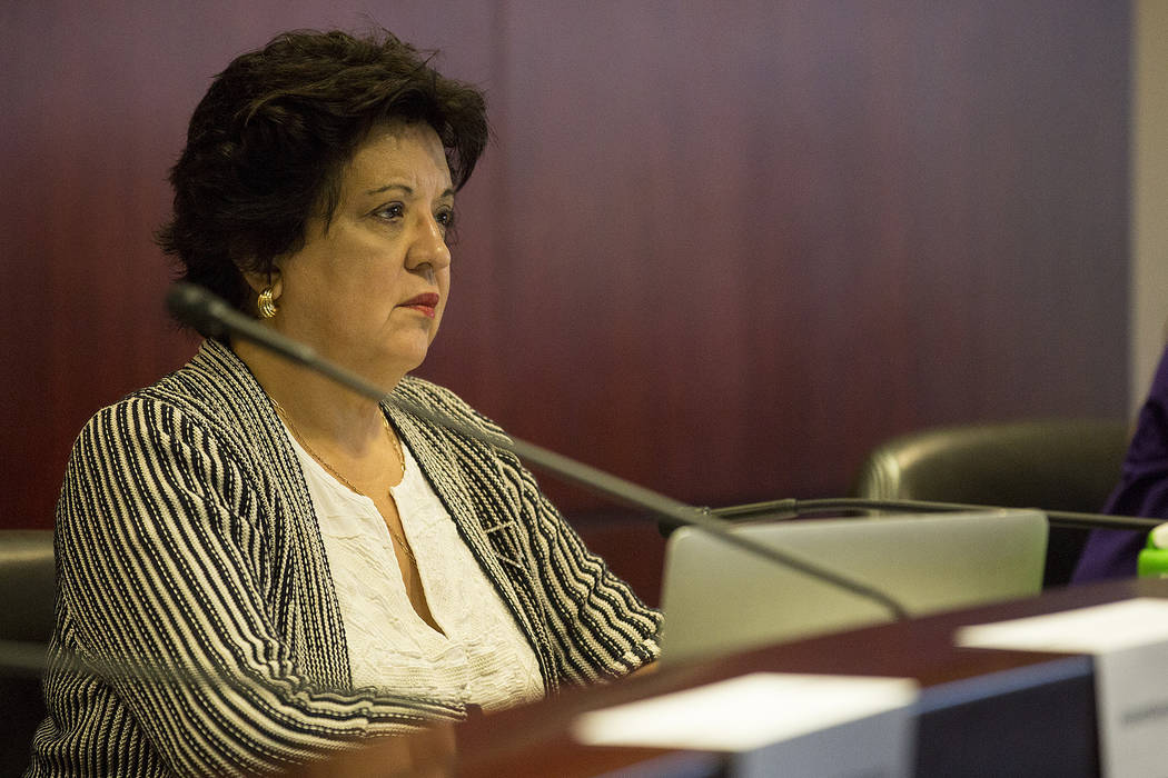 Co-chair and Educate Nevada Now policy director Sylvia Lazos listens to public comment during the first CCSD Community Budget Advisory Committeemeeting at Grant Sawyer State Office Building  ...