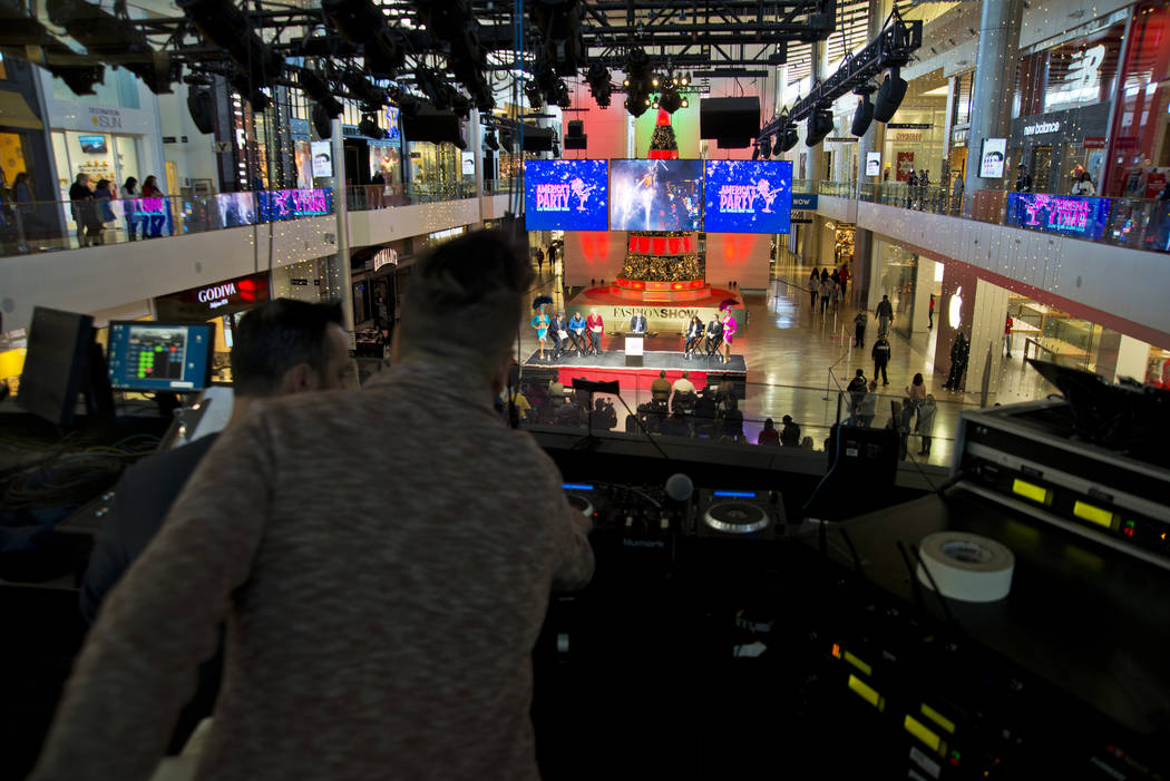 The production booth prepares for the America's Party news conference announcing details of Las Vegas New Year's Eve celebrations inside the Great Hall of the Fashion Show Mall on Thursday, Dec. 2 ...
