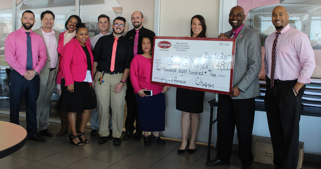 Chapman Participating in the check presentation inside the Chapman Chrysler Jeep showroom in the Valley Automall were, left to right, Jaron Davis, Gary Brewer, Ellena Smith, Kimberly Hill, Dylan C ...