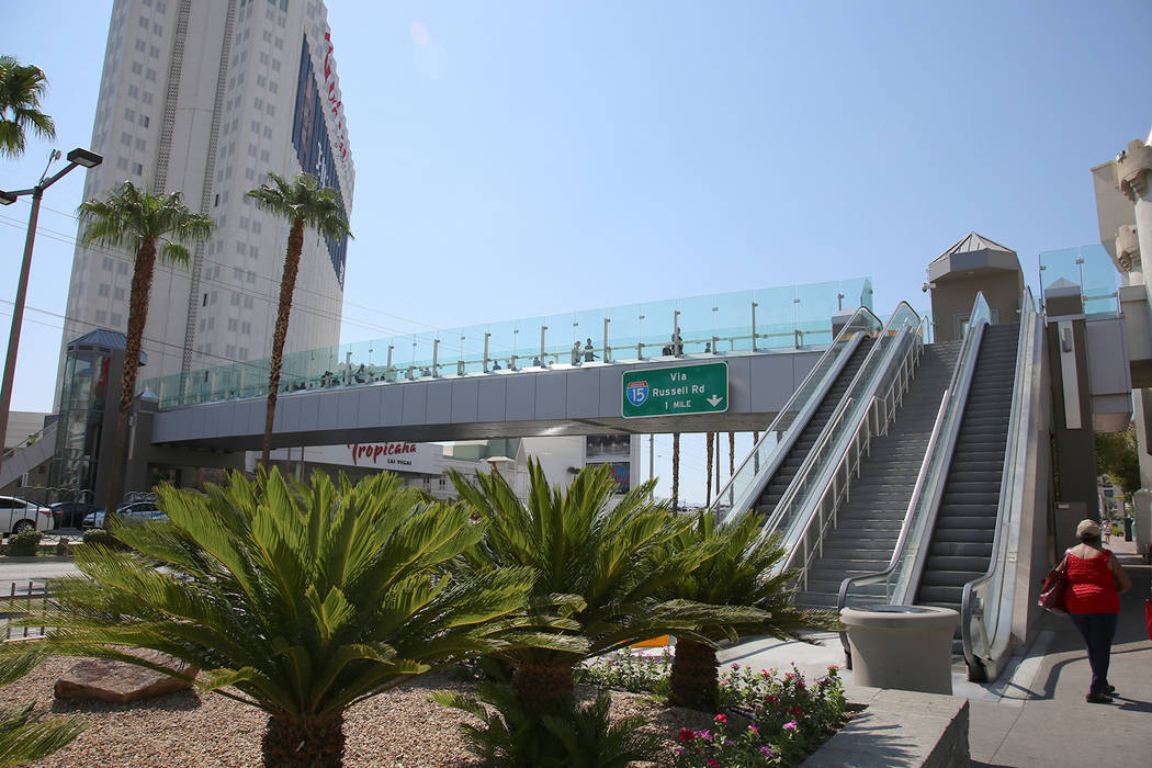The pedestrian bridge connecting New York-New York and Excalibur is scheduled to reopen by 3 p.m. Thursday. (Nevada Department of Transportation)