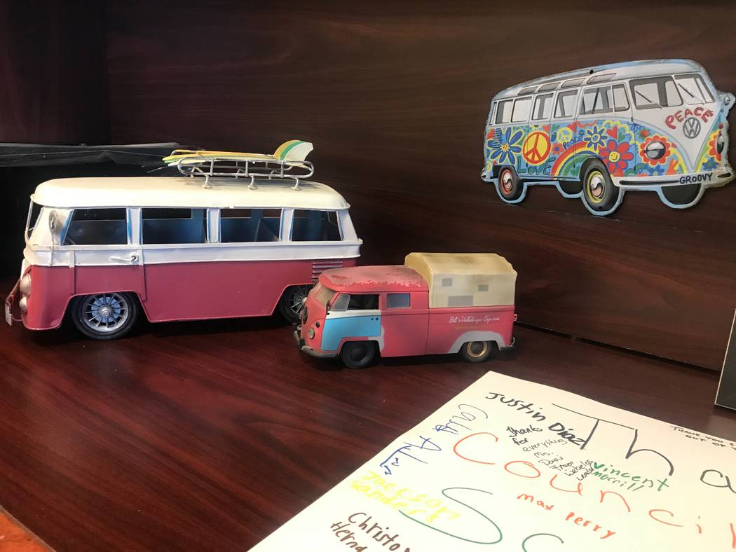 Vintage Volkswagen cars are displayed in Councilman Scott Black's office at city hall in North Las Vegas, 2250 Las Vegas Boulevard North. (Kailyn Brown/View) @KailynHype