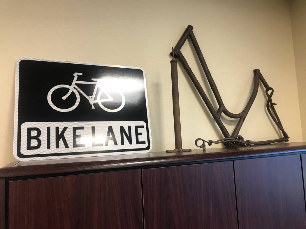 Vintage bike parts are on display in Councilman Scott Black's office at city hall in North Las Vegas, 2250 Las Vegas Boulevard North. (Kailyn Brown/View) @KailynHype