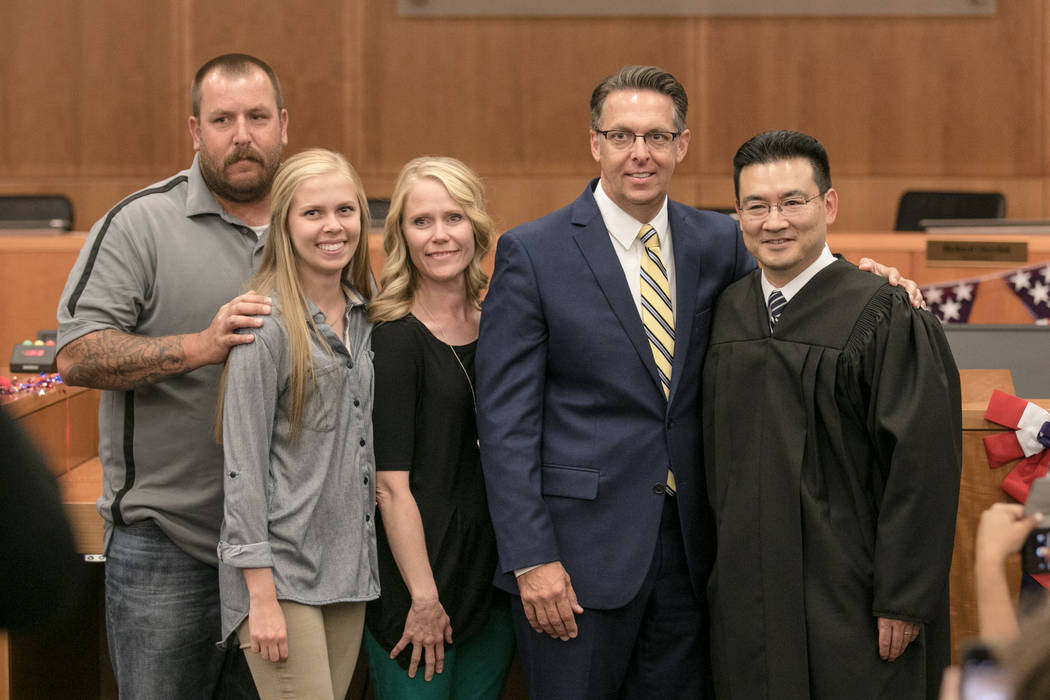Councilman Scott Black with family and Justice Court Judge Kalani Hoo at North Las Vegas City Hall on Wednesday, July 5, 2017, in Las Vegas. Morgan Lieberman Las Vegas Review-Journal